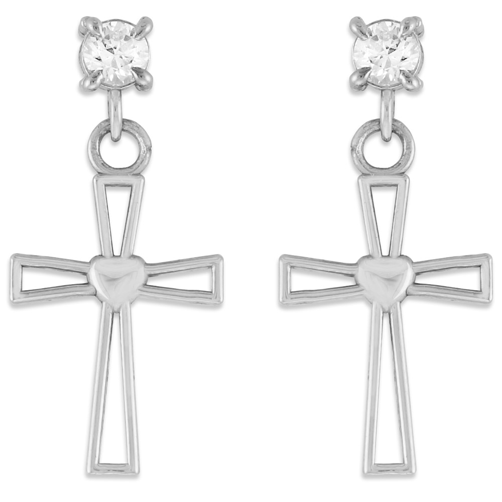 CZ Heart Post Cross Earrings in Sterling Silver GB54329S