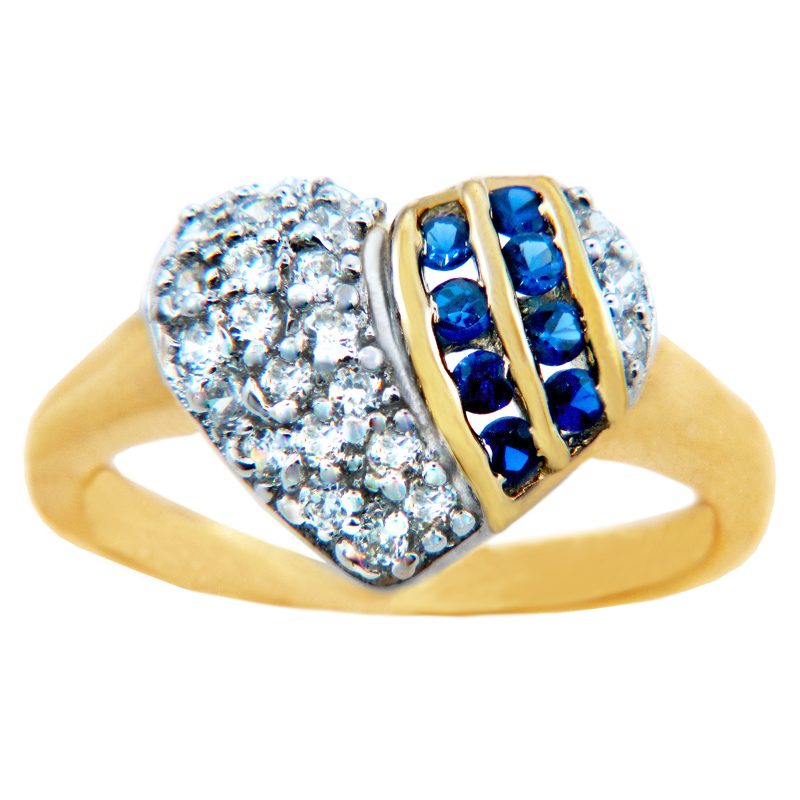 CZ Valentine Heart 2 S Ring in 9ct Gold GB52458Y