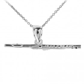 3D Flute Pendant Necklace in 9ct White Gold
