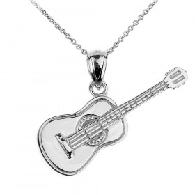 Acoustic Guitar Pendant Necklace in 9ct White Gold