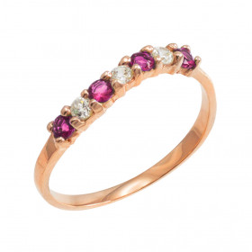 Alexandrite and CZ Stackable Wavy Ring in 9ct Rose Gold
