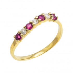 Alexandrite and CZ Wavy Stackable Ring in 9ct Gold