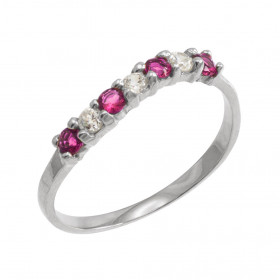 Alexandrite and CZ Wavy Stackable Ring in 9ct White Gold