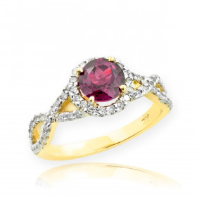 0.6ct Alexandrite and Diamond Infinity Halo Engagement Ring in 9ct Gold