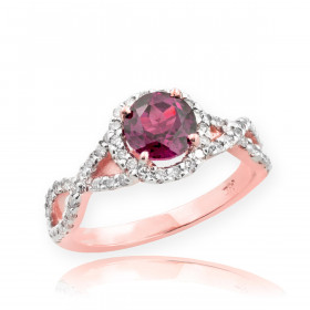 0.6ct Alexandrite and Diamond Infinity Ring in 9ct Rose Gold