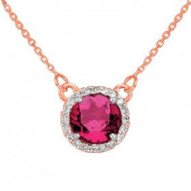 1.0ct Alexandrite and Diamond Pendant Necklace in 9ct Rose Gold
