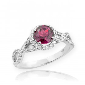 0.6ct Alexandrite Infinity Halo Ring in 9ct White Gold