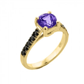 1.0ct Amethyst and Black Diamond Engagement Ring in 9ct Gold