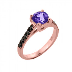 1.0ct Amethyst and Black Diamond Engagement Ring in 9ct Rose Gold