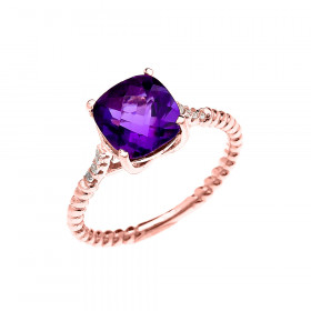 2.0ct Amethyst Chequerboard Rope Promise Twisted Rope Ring in 9ct Rose Gold