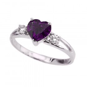 Amethyst and CZ Heart Promise Claddagh Ring in 9ct White Gold