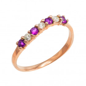 Amethyst and CZ Stackable Wavy Ring in 9ct Rose Gold