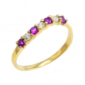 Amethyst and CZ Wavy Stackable Ring in 9ct Gold