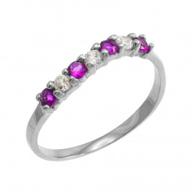 Amethyst and CZ Wavy Stackable Ring in 9ct White Gold
