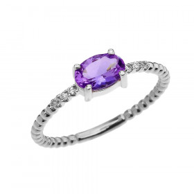 0.6ct Amethyst and Diamond Beaded Band Engagement Ring in 9ct White Gold