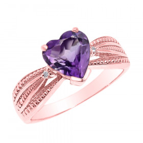 1.0ct Amethyst and Diamond Beauty Engagement Ring in 9ct Rose Gold