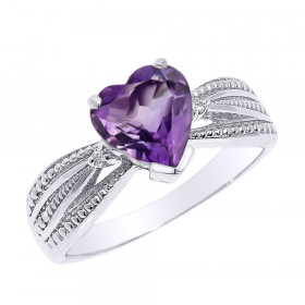 1.0ct Amethyst and Diamond Beauty Engagement Ring in 9ct White Gold
