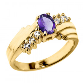 0.5ct Amethyst and Diamond Dazzle Ring in 9ct Gold