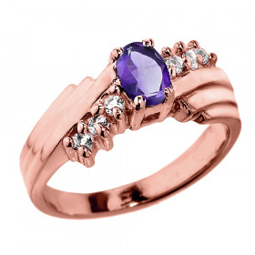 0.5ct Amethyst and Diamond Dazzle Ring in 9ct Rose Gold