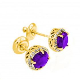 Amethyst and Diamond Earrings in 9ct Gold