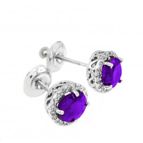 Amethyst and Diamond Earrings in 9ct White Gold