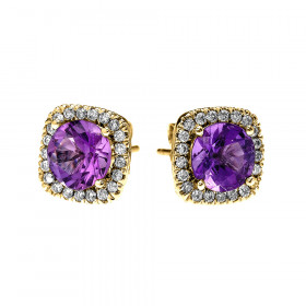 2.0ct Amethyst and Diamond Elegant Cushion Halo Stud Earrings in 9ct Gold