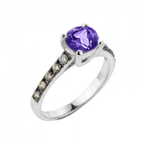 1.0ct Amethyst and Diamond Engagement Ring in 9ct White Gold