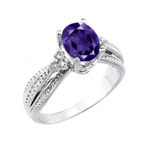 1.12ct Amethyst and Diamond Engagement Ring in 9ct White Gold