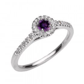 0.31ct Amethyst and Diamond Halo Engagement Ring in 9ct White Gold