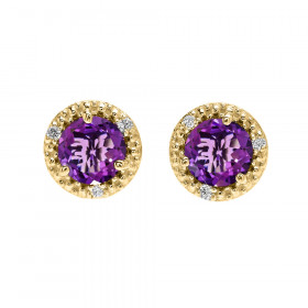 1.6ct Amethyst and Diamond Halo Stud Earrings in 9ct Gold