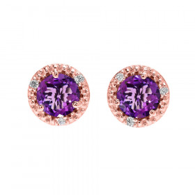 1.6ct Amethyst and Diamond Halo Stud Earrings in 9ct Rose Gold