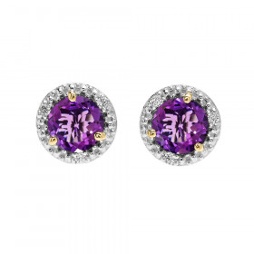 1.6ct Amethyst and Diamond Halo Stud Earrings in 9ct Two-Tone Gold