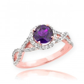 0.6ct Amethyst and Diamond Infinity Ring in 9ct Rose Gold