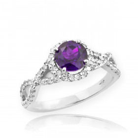 0.6ct Amethyst and Diamond Infinity Ring in 9ct White Gold
