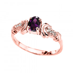 0.25ct Amethyst and Diamond Oval Engagement Ring in 9ct Rose Gold