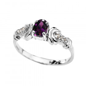 0.25ct Amethyst and Diamond Oval Engagement Ring in 9ct White Gold