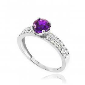 0.24ct Amethyst and Diamond Pave Engagement Ring in 9ct White Gold