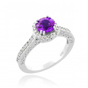 Amethyst and Diamond Pave Halo Engagement Ring in 9ct White Gold