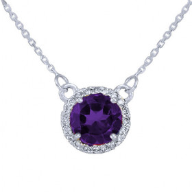 1.0ct Amethyst and Diamond Pendant Necklace in 9ct White Gold
