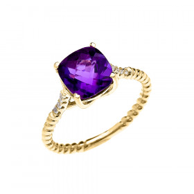 2.0ct Amethyst and Diamond Promise Twisted Rope Engagement Ring in 9ct Gold
