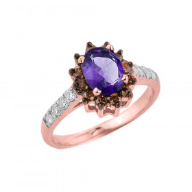 1.55ct Amethyst and Diamond Ring in 9ct Rose Gold