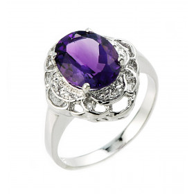 Amethyst and Diamond Ring in 9ct White Gold