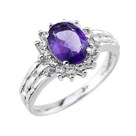 0.14ct Amethyst and Diamond Ring in 9ct White Gold