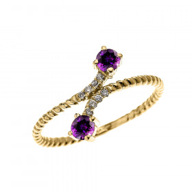 0.16ct Amethyst and Diamond Rope Design Promise Twisted Rope Ring in 9ct Gold
