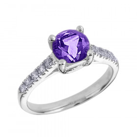 1.0ct Amethyst and Diamond Solitaire Engagement Ring in 9ct White Gold