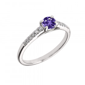 0.5ct Amethyst and Diamond Solitaire Engagement Ring in 9ct White Gold