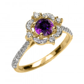 0.45ct Amethyst and Diamond Vintage Engagement Ring in 9ct Gold