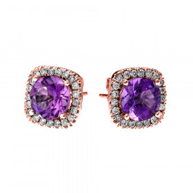 2.0ct Amethyst Elegant Cushion Halo Stud Earrings in 9ct Rose Gold