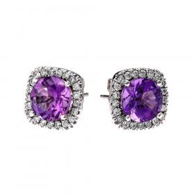 2.0ct Amethyst Elegant Cushion Halo Stud Earrings in 9ct White Gold