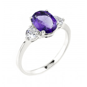 Amethyst Engagement Ring in 9ct White Gold